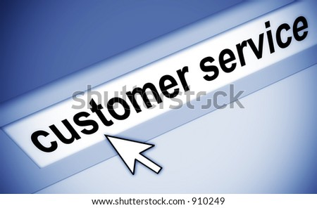 Graphic of address bar on computer with cursor arrow, pointing to customer service