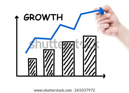 Graphic or chart grow concept draw on transparent white wipe board with a hand holding a marker - stock photo