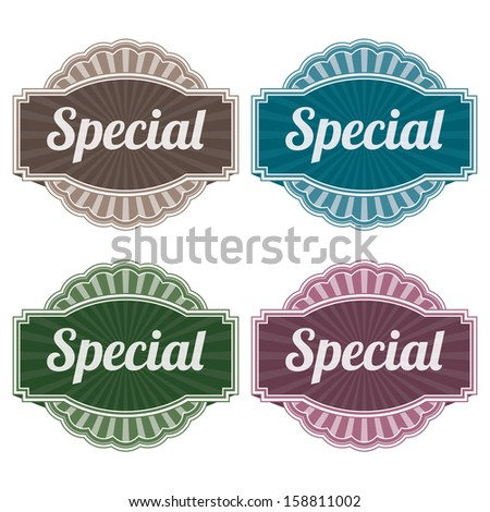 Graphic or Marketing Materials For Marketing Campaign, Promotion or Sale Event Present By Colorful Vintage Style Special Icon or Badge Isolated on White Background  - stock photo