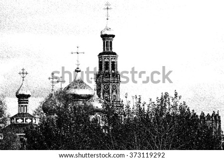 Graphic pen sketch of orthodox church in Moscow - stock photo