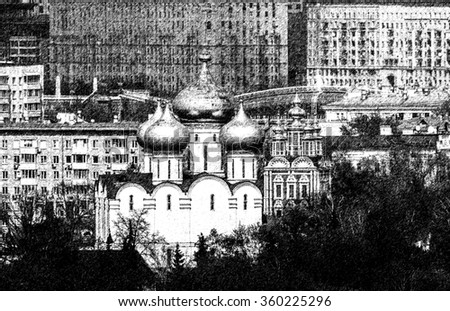 Graphic pencil sketch of orthodox church and houses in Moscow by digital painting  - stock photo