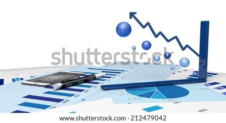 graphic positive financial analysis - stock photo