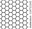 Graphic seamless pattern made of black honeycomb pattern over white. - stock vector
