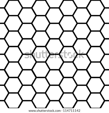 Graphic seamless pattern made of black honeycomb pattern over white.