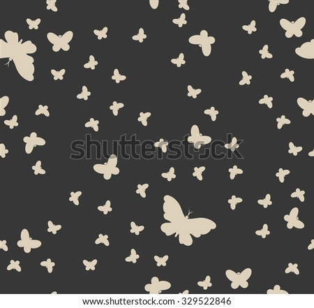 graphic seamless pattern of butterflies. Raster version  - stock photo