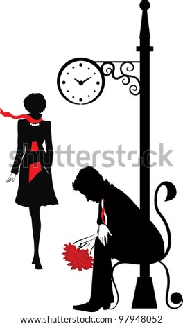 Graphic silhouette of the man. Waiting the woman under clock. Stefan series - stock photo
