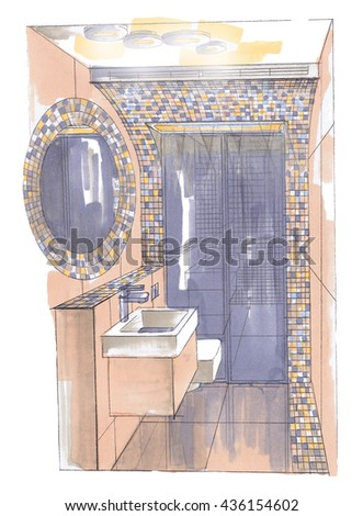 Graphic sketch, bathroom , design markers