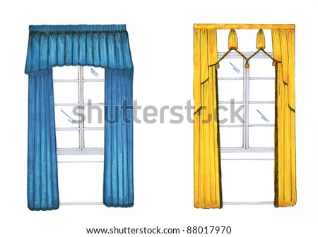 Graphic sketch, drapery, curtain, design markers - stock photo