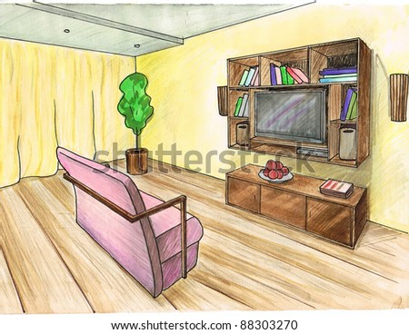 Graphic sketch,  living room, water color - stock photo