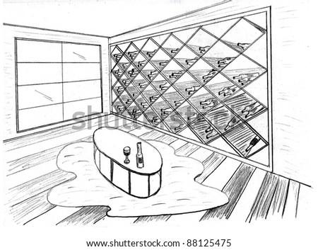 Graphic sketch, premise for wine storage - stock photo