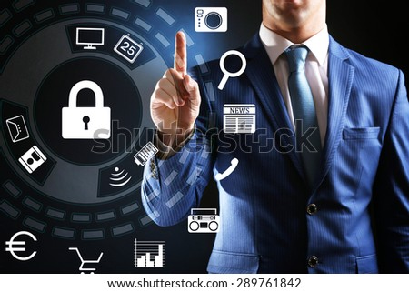 Graphic symbol of a lock on a computer information. Computer security concept - stock photo