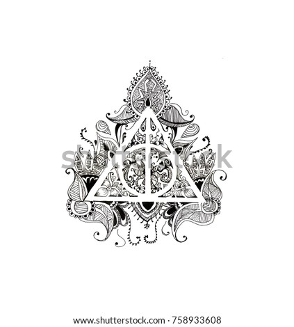 Graphic Symbol Deathly Hallows Black White Stock Illustration