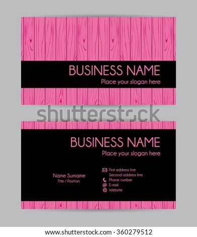 Graphic wooden business card design. Front and back. Vector set. - stock photo
