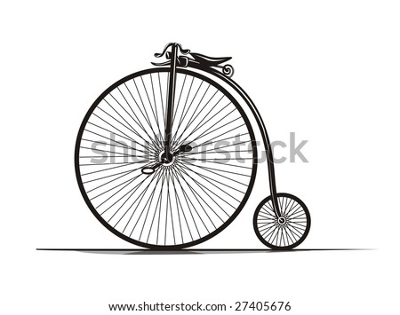 Graphical, black & white old-fashioned bicycle.