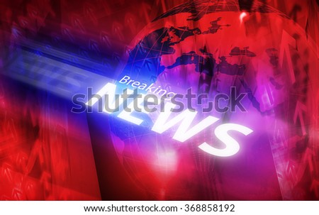Graphical digital breaking news background with arrows and news text. - stock photo