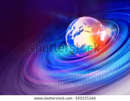 Graphical digtial world background with earth globe and digital numbers. - stock photo