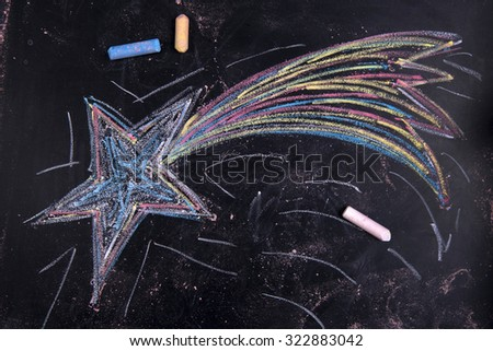 Graphical representation with chalk on the blackboard of the poinsettia - stock photo