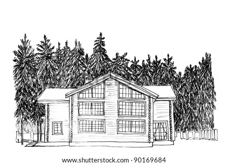 Graphical sketch. Apartment house in fur-tree wood - stock photo