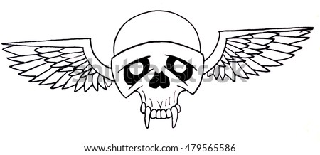 Graphical skull with wings. Tattoo design