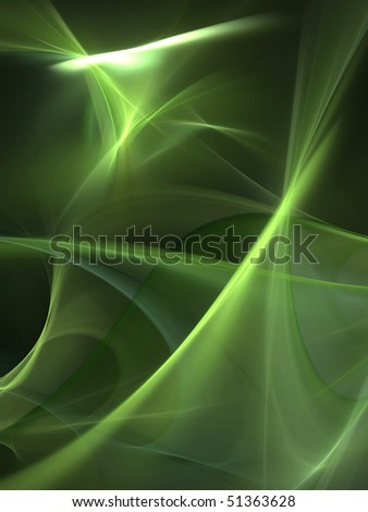 Graphics abstract texture. Computer rendered background. 3D fractal. Green blur wave. - stock photo