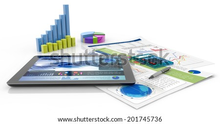 graphics, calculator, pen, tablet and financial documents - stock photo