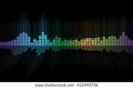 Graphics of music equalizer on black background - stock photo