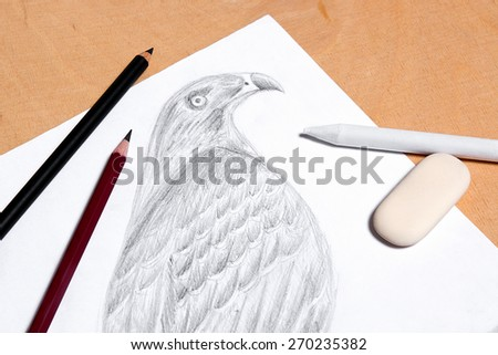 Graphite pencil, eraser and stamp with drawing hawk on the wooden background.  - stock photo