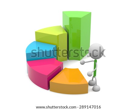 Graphs and character - stock photo