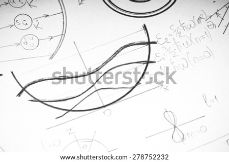 Graphs and charts of nuclear and quantum physics as a background - stock photo