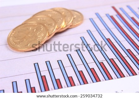 Graphs and coin - stock photo