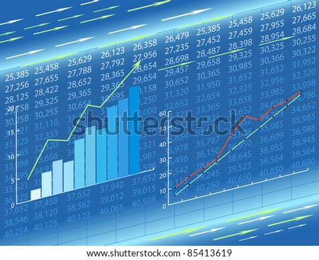 Graphs and figures showing an increase. Abstract economic charts. - stock photo