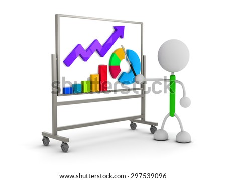 Graphs and white board - stock photo