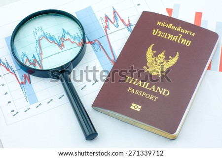Graphs, magnifier and Thailand passport. Analysis charts and graphs of sales. - stock photo