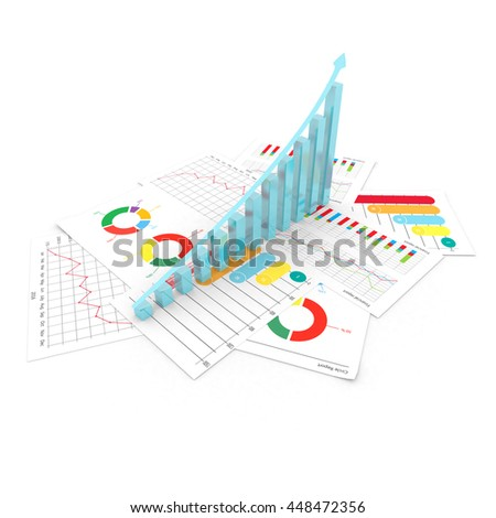 Graphs of financial analysis business stock invest isolated 3d illustration
