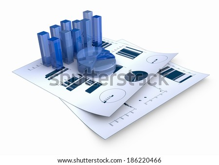 Graphs of financial analysis - Isolated - stock photo