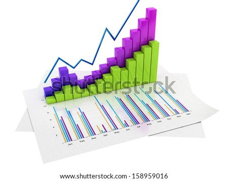 Graphs of financial analysis - Isolated on white backround.