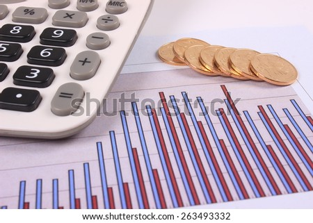 Graphs with coin and calculator - stock photo