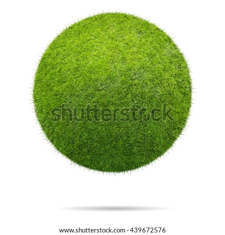 Grass ball isolated on white background - stock photo