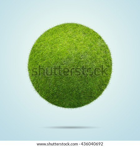 Grass ball over blue background - stock photo