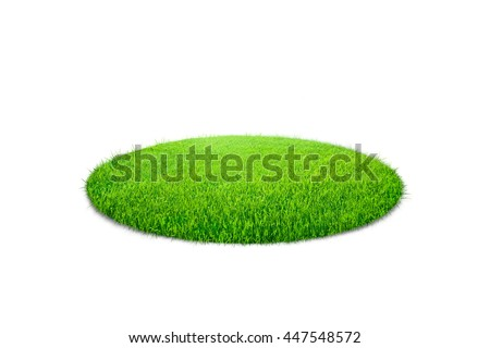 Grass circle isolated on white background - stock photo