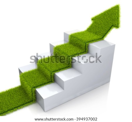 Grass covered arrow climbing up over a staircase in the design of the information related to the concept of growth - stock photo