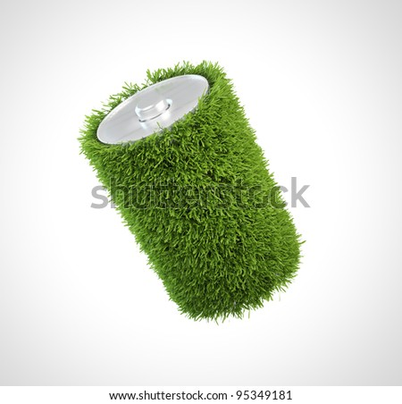 Grass covered battery - green energy concept