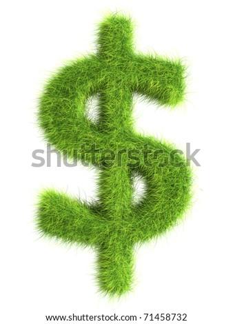 Grass dollar sign - stock photo
