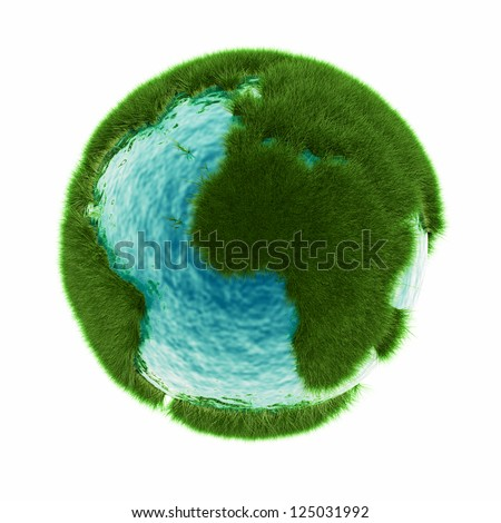 grass earth with water - global warming - stock photo