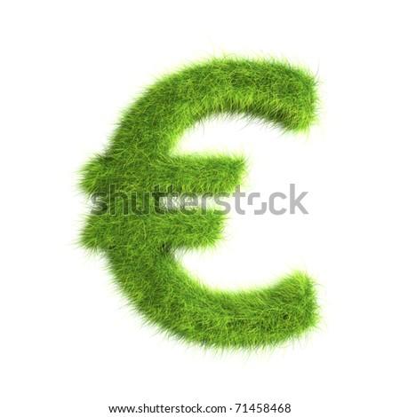 Grass Euro sign - stock photo