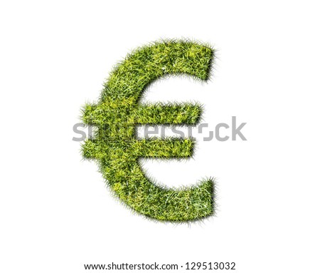 Grass Euro sign on white background