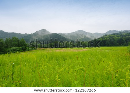 Grass field and the mountain, Hokkaido, Japan - stock photo