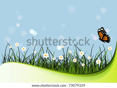 Grass, flowers and butterfly. Nature illustration.