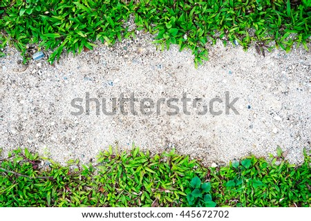 grass frame on sand background and texture - stock photo
