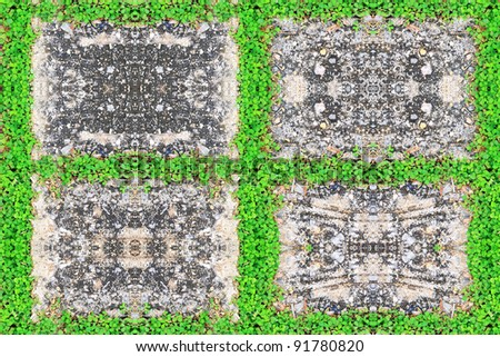 grass frame on stone background - stock photo